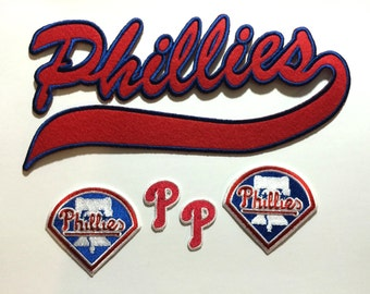 Philadelphia Phillies embroidered iron on script patch set. 5 patches in set.