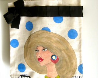 GLAMOUROUS JESSICA TOTE, Paris Woman, Fun Quote, Hand Painted Tote, periwinkle blue, picture hat, gift for her, black and white dress