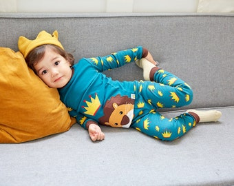 12M-7T 100% Cotton 2pcs Infant Kids Boys Loungewear Pajama Sleepwear Set Lion