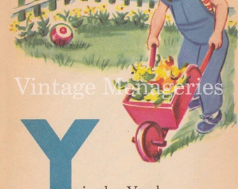 Vintage Letter Y page from 1955 Children's Book