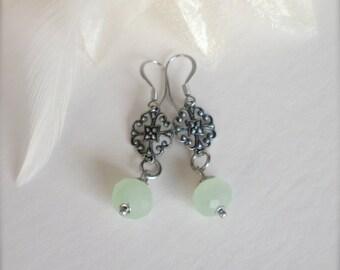 Mint Green Drop Earrings, Dangle Earrings, Surgical Steel Ear Hooks, Green Earrings, Wedding, Bridal Jewelry, Vintage Style Gift for Her
