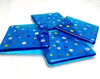 Millefiori Coaster - set of 4 coasters. Handmade glassware gift.