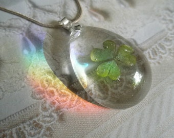 Real Shamrock Encased In Glass-Teardrop Pendant-3 Heart Shaped Leaves Are Represented by Love, Hope and Faith-Ltd. Edition-St. Patrick's Day