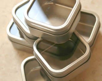 Square Window Tins - set of 5 - 2.5 x 2.5 x 1.5 - 4 Ounces Capacity - Perfect for Spices, Wedding Favors and Retail Packaging