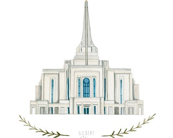 Gilbert Arizona LDS Temple Illustration - Archival Art Print