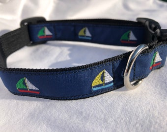 Sailboat Small Dog Collar