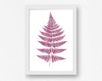 Pink Wall Art, Botanical Art, Leaf Print, Leaves Print, Printable Art, Office Wall Art, Living Room Decor, Fern Frond, Pink Art, Ferns