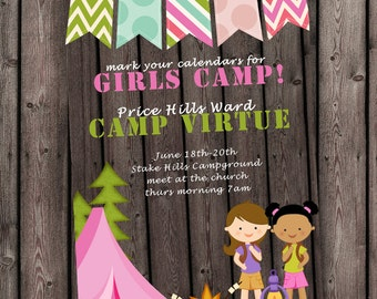 GIRLS camp invitation, camping invitation, camp party. customized wording included
