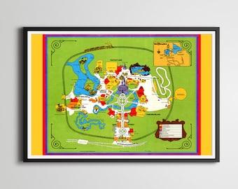 Vintage 1974 DISNEY WORLD Park Map Poster! (24 x 36 or Smaller!) - TomorrowLand - DisneyLand - Magic Kingdom - Mickey Mouse - Wall Decor
