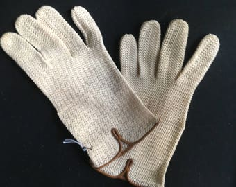 Vintage Wear-Right Wrist Length Cream Cotton Knit Gloves with Leather Trim, Made in Austria