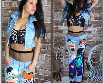 Jeans - boyfriend - Jeans festival - clothing Hand Painted - disney clothing - Hand Painted jeans - Drawing on jeans - birthday anniversary