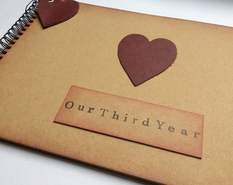 Third year anniversary gift / for husband / wife / girlfriend / boyfriend / gift for 3rd year / leather anniversary / leather gift