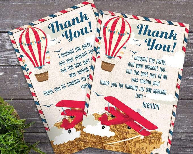 Aviator, Airplane, Hot Air Balloon - Thank You Cards, Retro Aviator, Retro Map, Self-Editing | DIY Editable Text INSTANT DOWNLOAD Printable