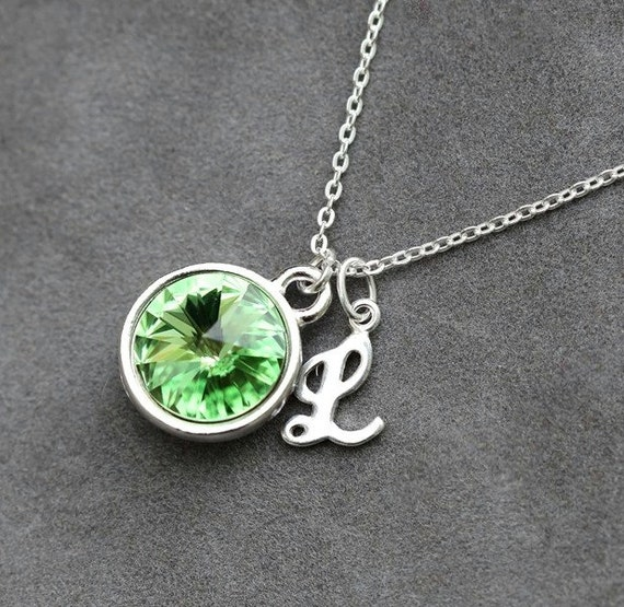 letter a charm august birthstone necklace peridot charmed lily jewellery personalised birthhstone with