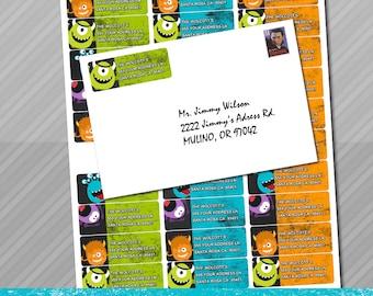 Monster Address Labels, Little Monster Birthday Party,  Avery Labels,  monster party, monster mailing address labels