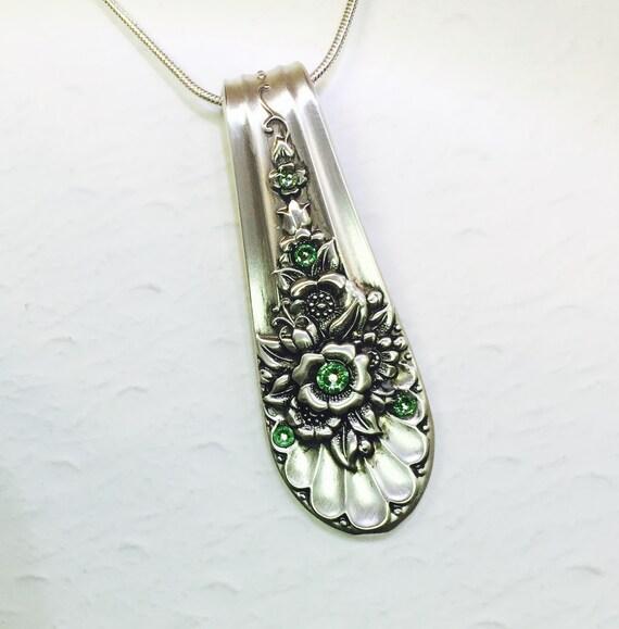 Spoon Necklace, Peridot Crystals, Spoon Jewelry, Silverware Jewelry, 'Jubilee' 1953