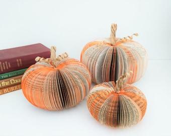 Paper Pumpkin Halloween Decoration Set of 3 Small Medium and Large Book Art