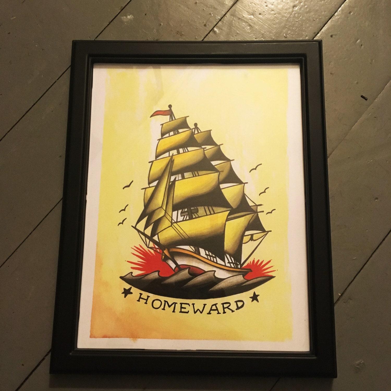 Sailor Jerry Style Ship FRAMED PRINT
