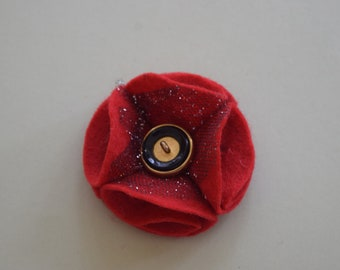 Red Rememberance Felt Poppy Pin
