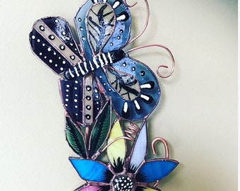Stained Glass Butterfly Scroll