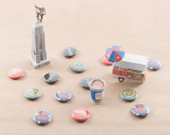 New York City Buttons Pins- set of 4, 1 inch
