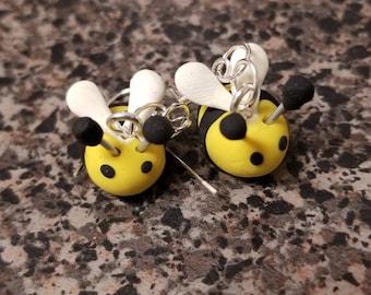 Polymer clay bee earrings