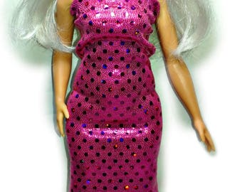 Curvy Barbie Doll Dress - Pink Confetti Gown for Curvy Barbie