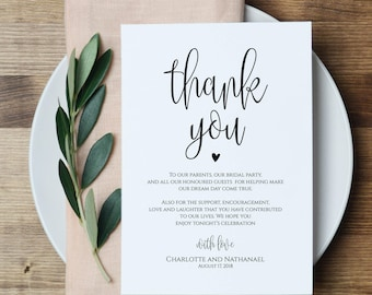 Wedding Thank You Note, Printable Thank You Card Template, Instant Download Editable PDF, WLP461