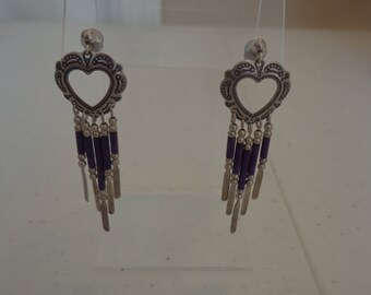 Sterling Silver Pierced Post Earrings, Southwestern Stamped Heart and Purple Stone Heishi Dangle , Circa late 1980s