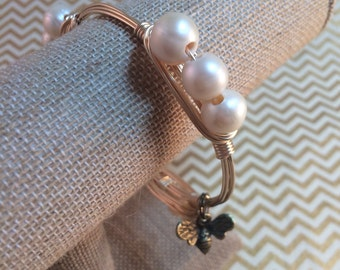 Freshwater Pearl Gold Wire Wrapped Bangle Bracelet