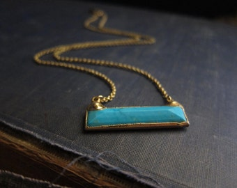 Gold Bar Necklace,Turquoise Bar Necklace,Bar Necklace,Turquoise Necklace,Gold,Simple Necklace,Turquoise,Everyday Necklace,Simple Jewelry