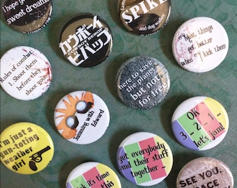 """Cowboy Bebop buttons 1.25"""" / 32mm pin back button/badge : See you, Space Cowboy"""