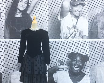 Vintage Black Velvet Tiered Ruffled Polka Dotted Party Dress (Size Small)