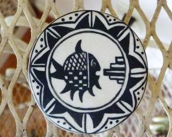 Pottery Pin Brooch  ...   Unique Artist Designed Fish Jewelry --  Fishy Fun !