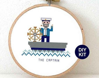 Nautical Cross Stitch Kit with boat captain. Nautical nursery decor. Modern embroidery kit including hoop.