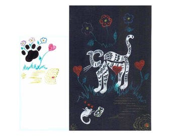 "Art original drawing ""stylized cat and mouse"" card on black drawing paper"