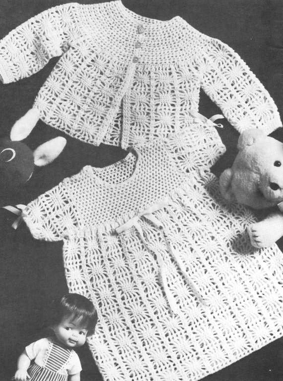Vintage Crochet Pattern Baby Bundle Spider Web Lace Baby Cardigan