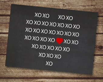 Modern Valentine card printable, Chalkboard Valentine, Pixel art, XO print, huges and kisses, nerd valentine card- Instant Download
