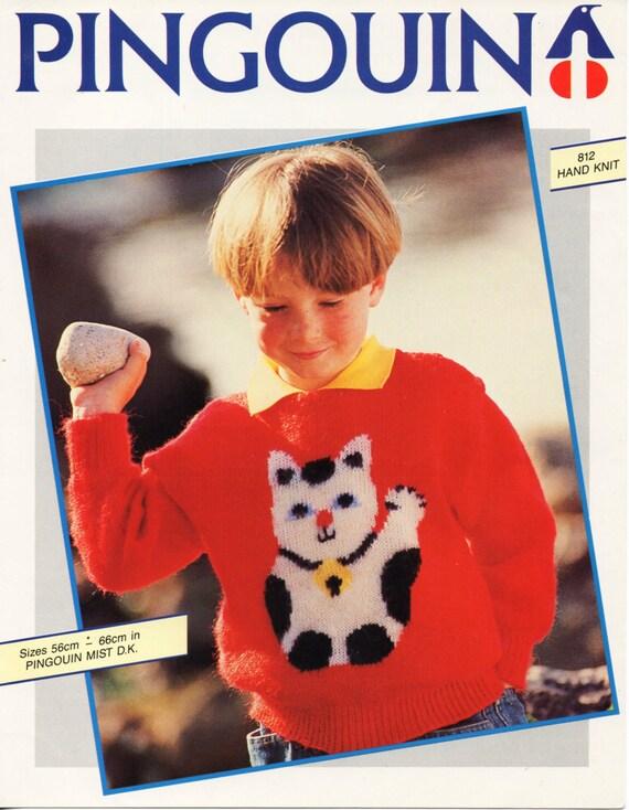 childrens cat sweater knitting pattern pdf download cat motif