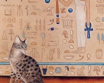 Egyptian Mau Cat Art Print, Egyptian Temple, Mennefer