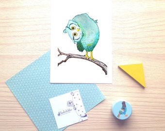 Funny blue owl, limited print, watercolor illustration, wish card, wall decor, nursery, baby, children