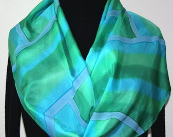 Turquoise Teal Silk Scarf Handpainted. Handmade Silk Shawl TURQUOISE RAINBOW, in Several SIZES. Anniversary, Mother Gift. Christmas Gift