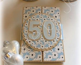 Birthday card 50 years. Gift card holder or money holder. DIGITAL CUTTING FILE. Silhouette Studio V3 file