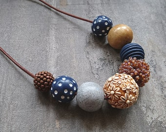 Brown and Navy Necklace, handcrafted polymer clay necklace, flower necklace, flower bead, beaded necklace, brown and navy necklace