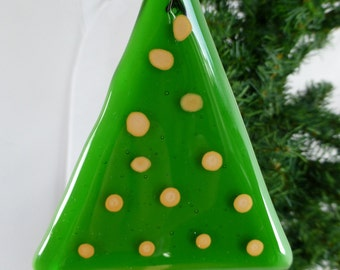Fused Glass Green Christmas Tree with gold accents for festive decoration