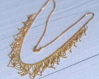 14 Karat Gold Sparkle Cascade Multi Strand Statement Necklace