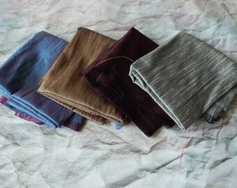 Fat Quarter Bundle of Silk Fabric, Dupioni Silk Fabric, Blend Silk Fabric, Art Silk Fabric, Ethnic Fabric- 4 pcs