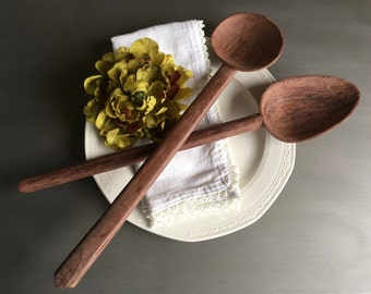 Long Wood Spoons Hand Carved Wooden Utensils Vintage Handcarved Kitchen Decor ~ #F1066