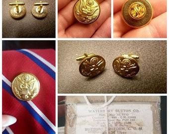 Repurposed Waterbury Button Co. uniform buttons