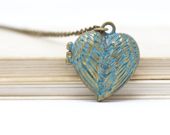 Mother Gift - Heart Locket Pendant on Brass Chain For Mom, Wife or Girlfriend